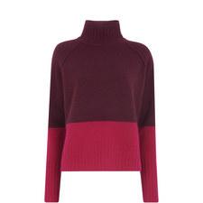 Colour Block Funnel Neck Knit