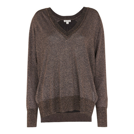 V-Neck Sparkle Knit, ${color}