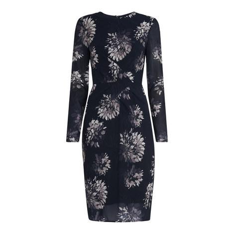 Brush Stroke Silk Bodycon Dress, ${color}