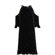 Constellation Print Velvet Dress