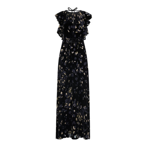 Printed Devoré Maxi Dress, ${color}