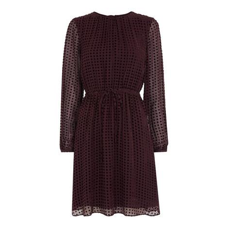 Velvet Devore Polka Dot Dress, ${color}