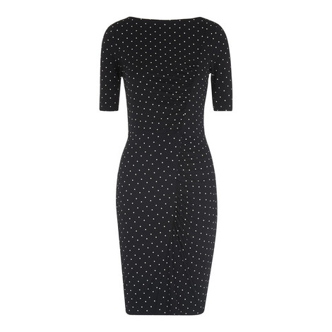 Pin Dot Jersey Bodycon Dress, ${color}