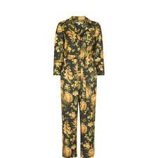 Foxglove Print Silk Jumpsuit