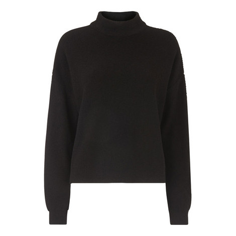 Textured Funnel Neck Sweater, ${color}
