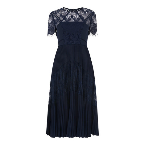 Bianca Lace Pleated Dress, ${color}