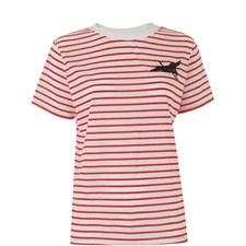 Embroidered Crane Stripe T-Shirt