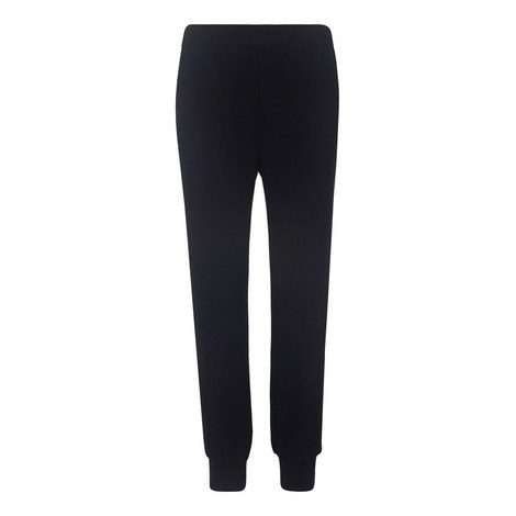 Ribbed Cuff Crêpe Jogger Trousers, ${color}