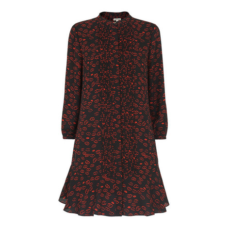 Lilly Lips Print Pintuck Dress, ${color}