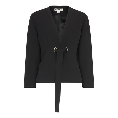 Tie Front Cocoon Sleeve Jacket, ${color}