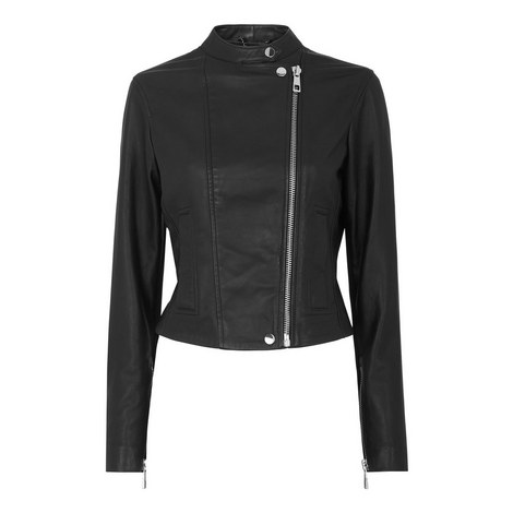 Collarless Leather Jacket, ${color}