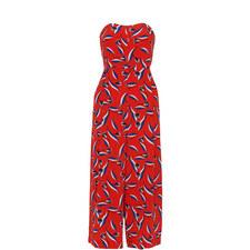 Lyza Tulip Print Silk Jumpsuit