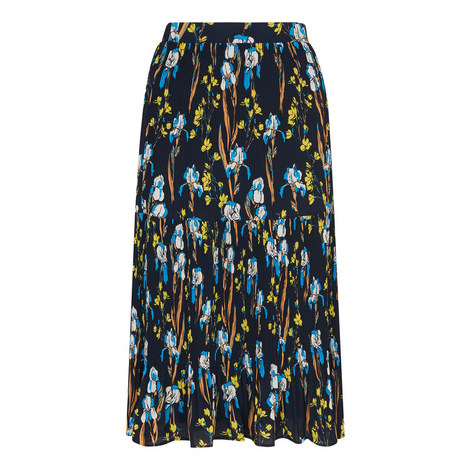Iris Print Pleated Skirt, ${color}