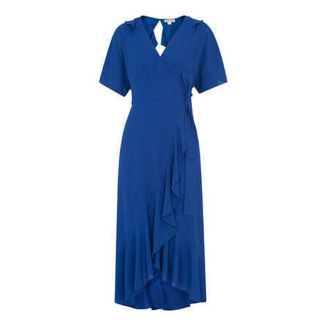 Abigail Frill Wrap Midi Dress, ${color}