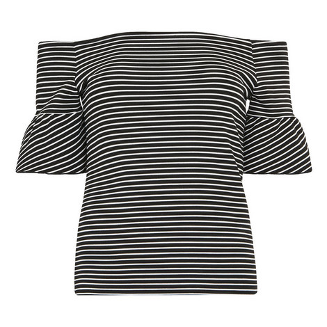 Stripe Frill Detail Bardot, ${color}