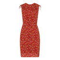 Peony Print Silk Bodycon Dress, ${color}