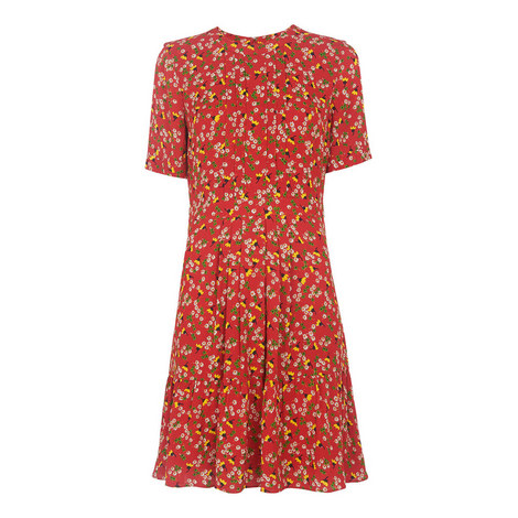 Peony Print Pleated Dress, ${color}