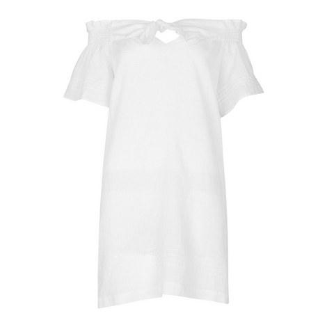 Tie Front Bardot Dress, ${color}