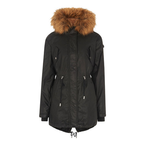 Faux Fur Lined Waxy Parka, ${color}