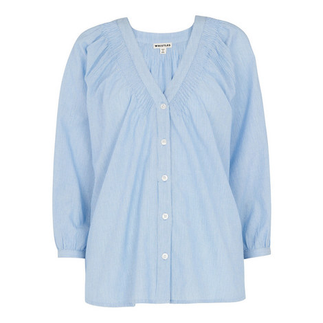 V-Neck Pintuck Stripe Shirt, ${color}