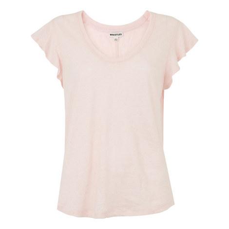 Frill Sleeveless Linen Top, ${color}