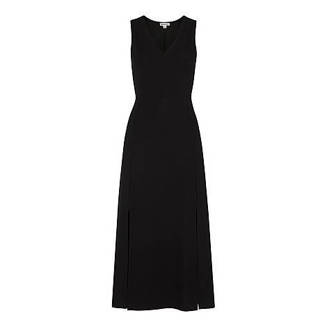 Ribbed Jersey V-Neck Dress, ${color}