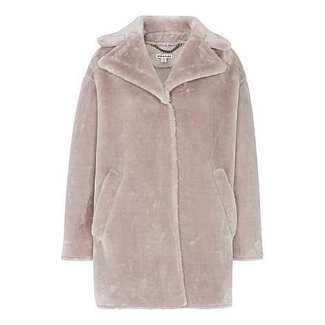 Faux Fur Cocoon Coat, ${color}