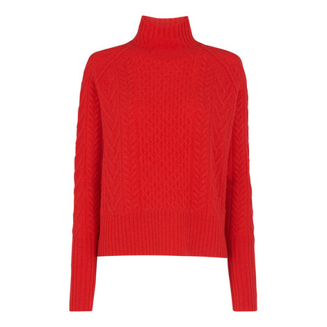 Cable Funnel Neck Wool Knit, ${color}