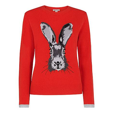 Bunny Motif Intarsia Sweater, ${color}