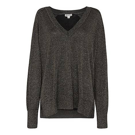 V Neck Sparkle Knit Sweater, ${color}