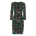 Adelaide Print Silk Bodycon Dress, ${color}