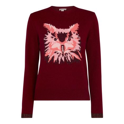Owl Motif Intarsia Sweater, ${color}