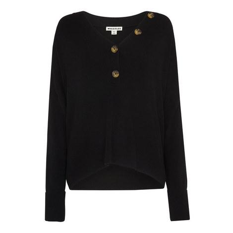 V-Neck Button Detail Sweater, ${color}