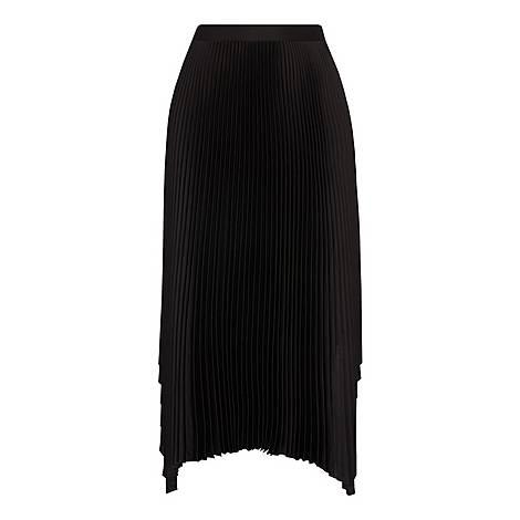 Elliptical Hem Pleated Skirt, ${color}