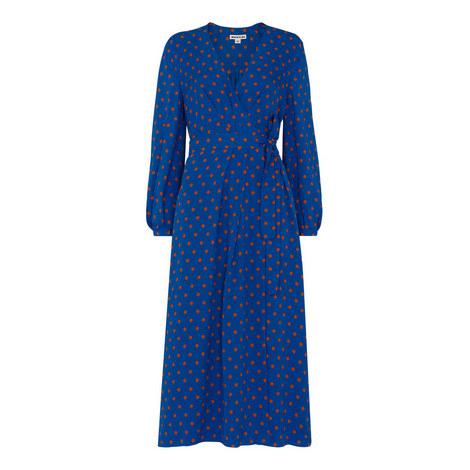Maria Spot Silk Wrap Dress, ${color}