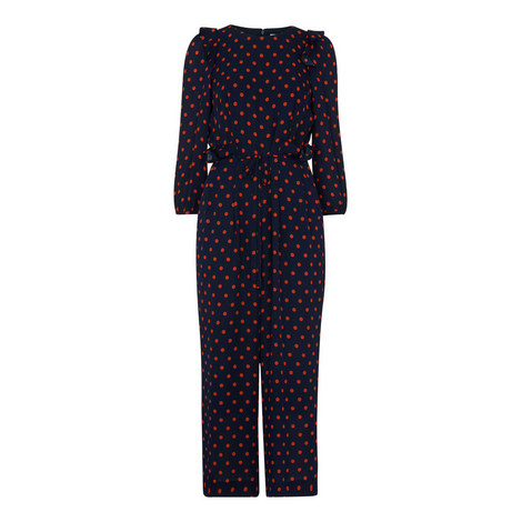Precilla Spot Silk Jumpsuit, ${color}