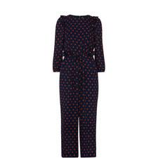 Precilla Spot Silk Jumpsuit