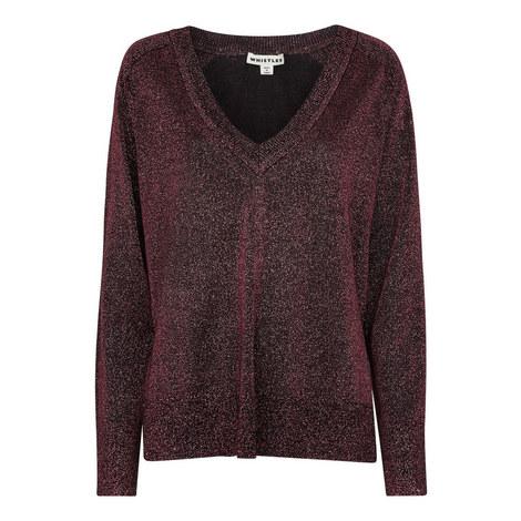 V-Neck Sparkle Sweater, ${color}