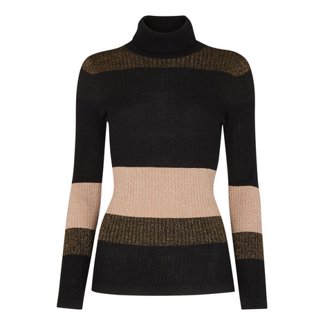 Wide Stripe Sparkle Polo Knit, ${color}
