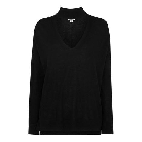 Choker Neck Merino Wool Sweater, ${color}