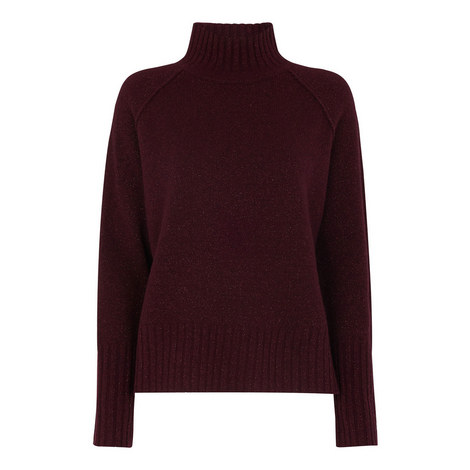 Sparkle Funnel Neck Wool Knit, ${color}