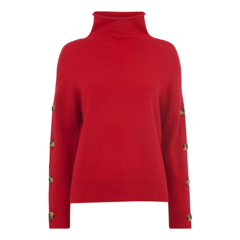 Button Sleeve Funnel Neck Sweater, ${color}