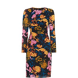 Digital Bloom Silk Bodycon Dress