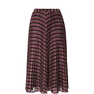 Stripe Sparkle Pleated Skirt