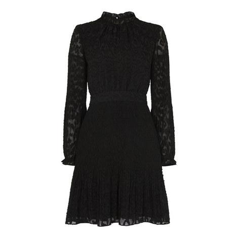 Animal Devore Pleated Dress, ${color}