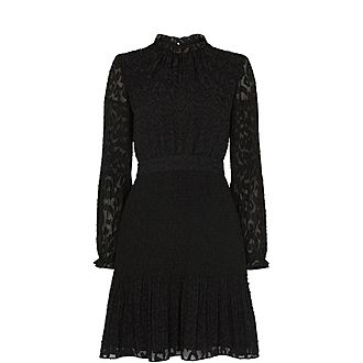 Animal Devore Pleated Dress