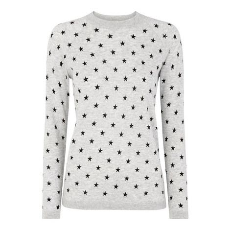Star Print Crew Neck Sweatshirt, ${color}