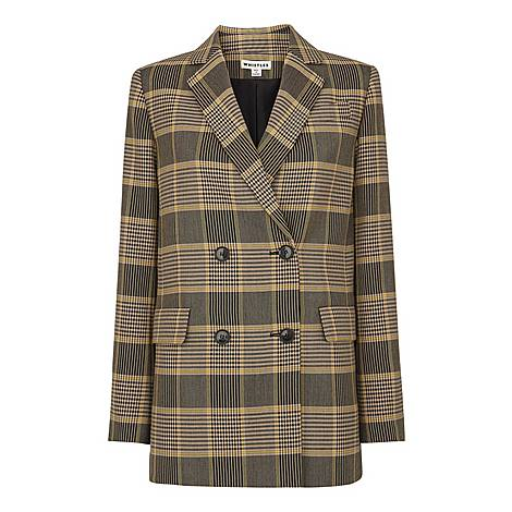 Check Double-Breasted Blazer, ${color}