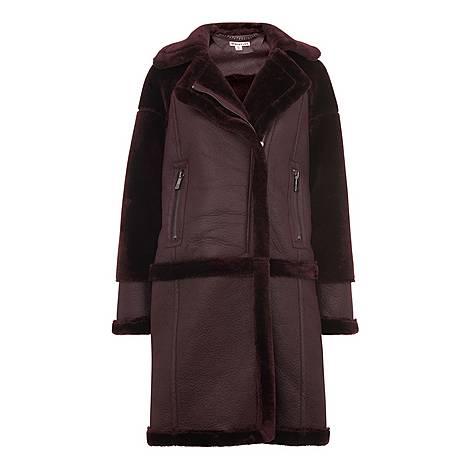 Longline Faux Fur Biker Coat, ${color}
