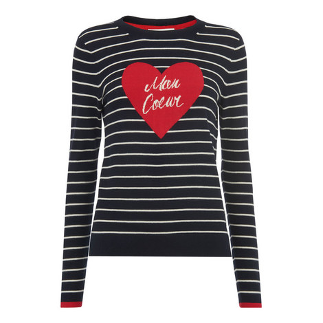 Mon Coeur Heart Stripe Sweater, ${color}